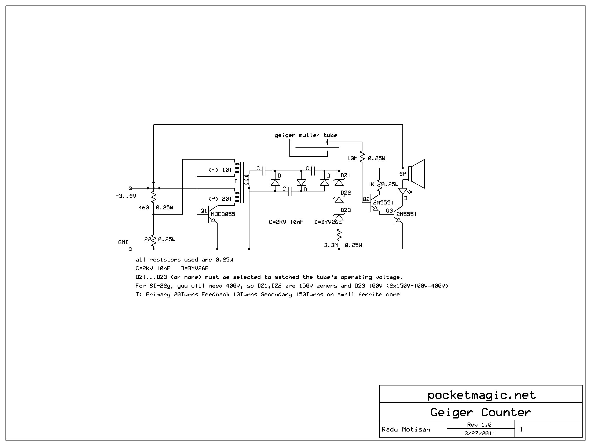 Geiger Counter Wiring Diagram Free For You Circuit Page 3 Meter Circuits Nextgr Diy Homemade Muller Clicker V1 Pocketmagic Art