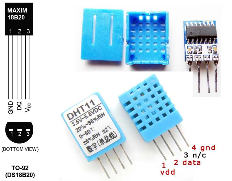 Temperature Sensors DS18B20 and DHT11 with Atmega8