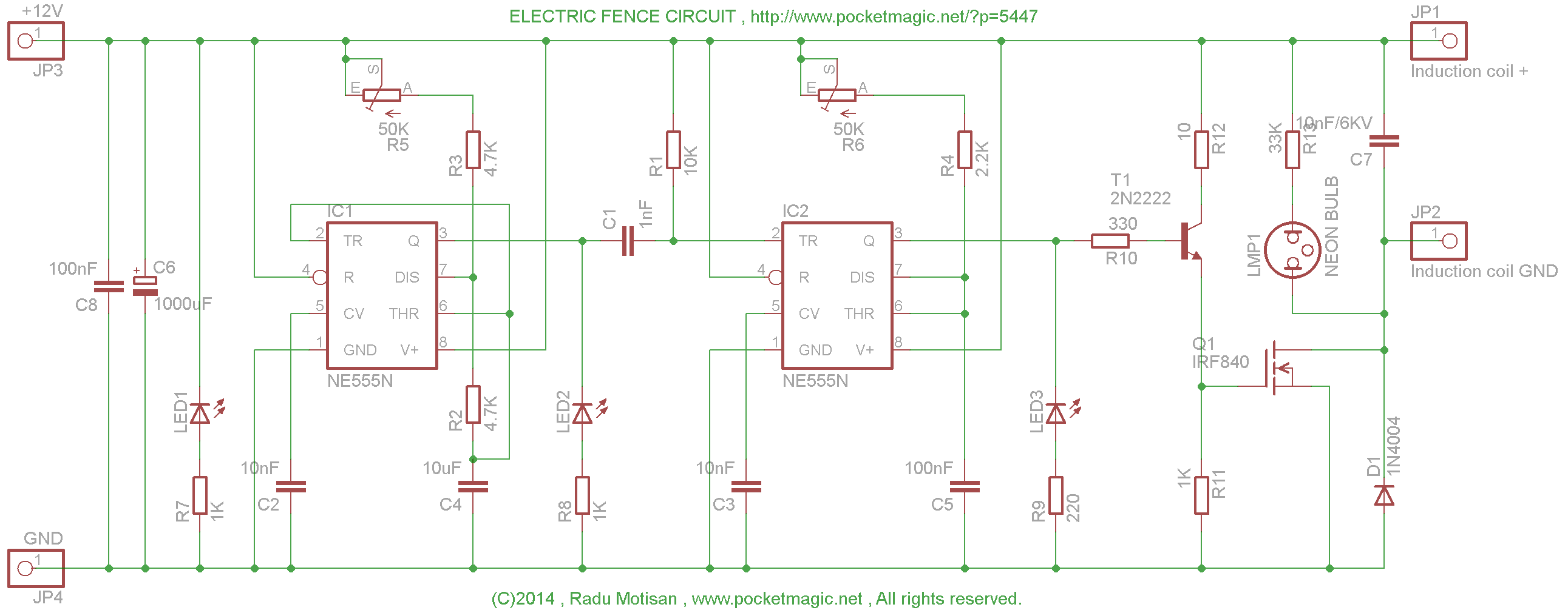 Electric Fence Circuit For Perimeter Protection Pocketmagic Ne555 Projects Induction Coil Driver 555