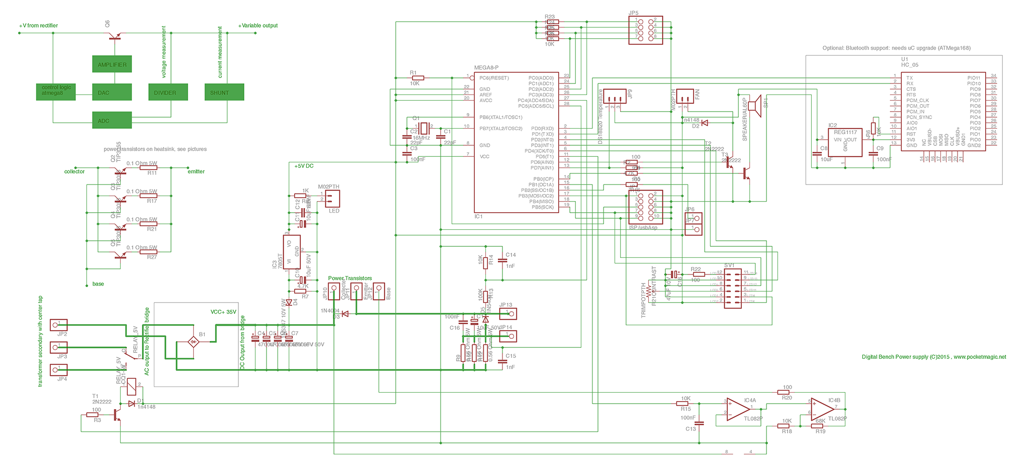 Digital Bench Power Supply Pocketmagic Simple Voltmeter Pic16f877a Schematic Circuit Diagram Pcb Sch
