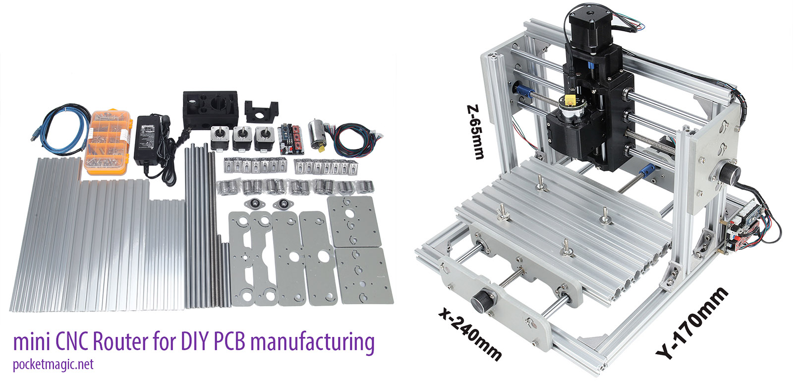 Cnc Router For Diy Pcb Manufacturing Pocketmagic Mill The Construction Was Easy After All What Can You Expect From A Cartesian Frame And Few Wires